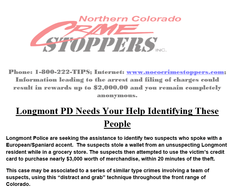, Longmont PD is looking for your help!, Northern Colorado Crime Stoppers, Northern Colorado Crime Stoppers